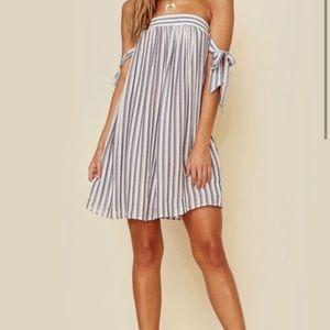 Planet blue Venus beach stripe off shoulder dress